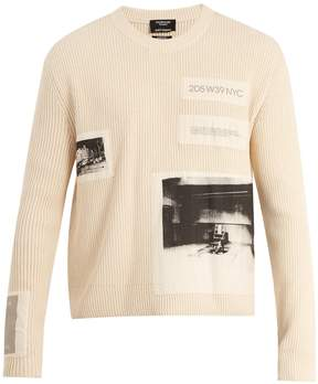 Calvin Klein Little Electric Chair-print ribbed cotton sweater