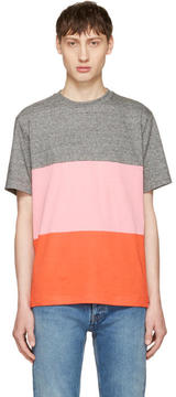 Paul Smith Grey and Pink Multistripe T-Shirt
