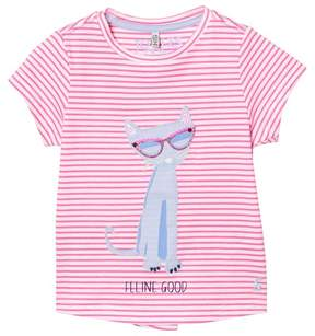 Joules Pink Stripe Cat Applique Tee