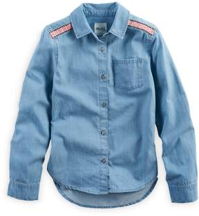 Mudd Girls 7-16 & Plus Size Embroidered Shoulder Chambray Button-Down Shirt