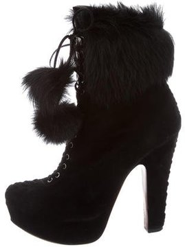 Alaia Lace-Up Platform Booties