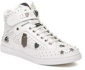 Saint Laurent Men's Leather Embellished Hi-top Sneaker Shoes White.