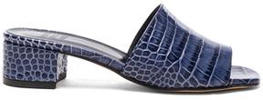 Maryam Nassir Zadeh Leather Sophie Slide Heels in Blue,Animal Print.