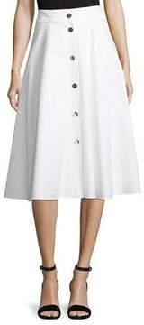 Escada Snap-Front Cotton Pique Midi Skirt