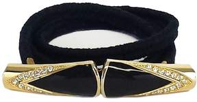 St. John Black Knit & Gold Embellished Clasp Belt