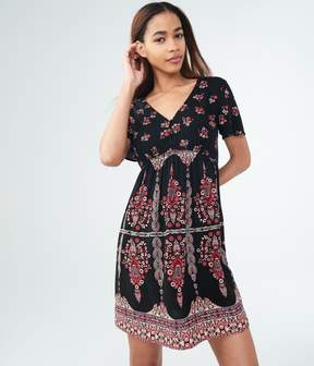 Aeropostale Floral V-Neck Fit & Flare Dress
