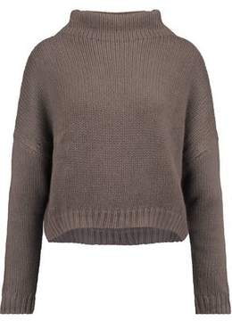 Autumn Cashmere Asymmetric Open-Knit Turtleneck Sweater