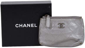 One Kings Lane Vintage Chanel Silver Metallic Small Pochette - Vintage Lux