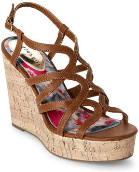 Madden-Girl Cognac Paris Elmaa Cork Platform Wedge Sandals