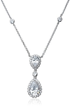 Crislu Double Marquise Cut CZ & Bezel Set Halo Drop Pendant Necklace
