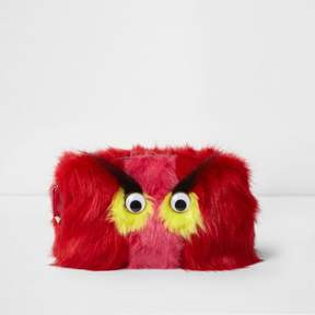 River Island Womens Red faux fur googly eye monster make-up bag