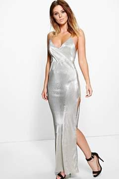 boohoo Polly Metallic Drape Thigh Split Maxi Dress