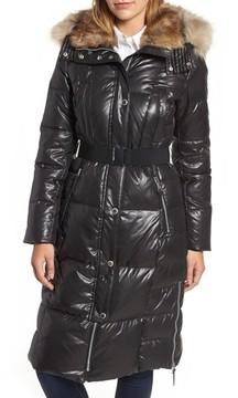Andrew Marc Women's Lacquer Down Puffer Jacket With Faux Fur Hood