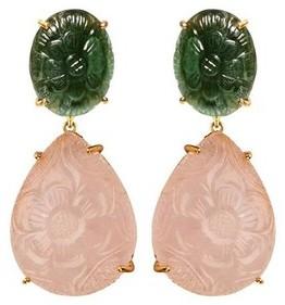 Bounkit Carved Pink Quartz Drop Earrings