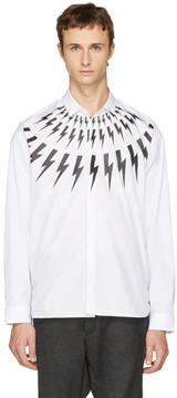 Neil Barrett White Fairisle Thunderbolt Shirt