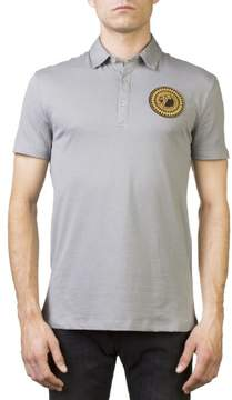 Versace Men's Medusa Logo Regular Fit Pima Polo Shirt Gray