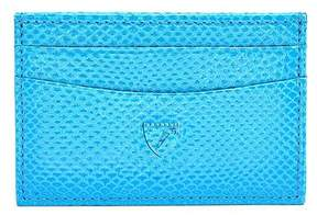 Aspinal of London | Slim Credit Card Case In Aquamarine Lizard Silver Suede | Aquamarine lizard silver suede