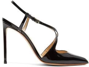 Francesco Russo Cross-strap patent-leather pumps