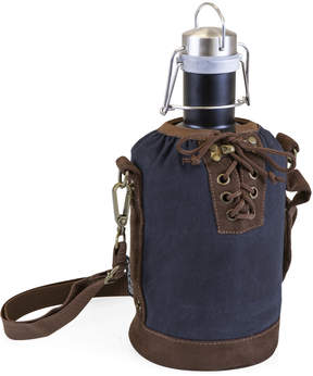 Picnic Time Navy & Brown Insulated Growler Tote & Matte Black Steel Growler