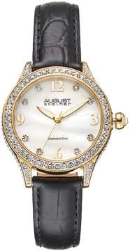 August Steiner Women's Diamond & Crystal Leather Watch