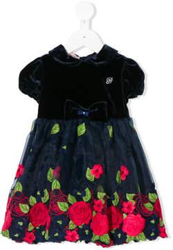 Miss Blumarine flower embroidery velvet dress