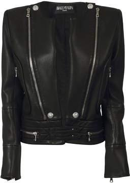 Balmain Zip Detail Leather Jacket