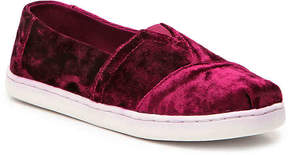 Toms Girls Classic Alpargata Toddler & Youth Velvet Slip