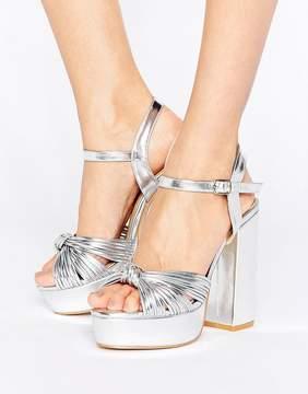 Public Desire Avalon Knot Silver Platform Heeled Sandals