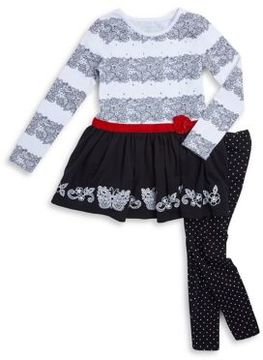 Flapdoodles Little Girl's Two-Piece Butterfly Dress and Leggings Set