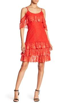 ML Monique Lhuillier Off-the-Shoulder Ruffled Midi Dress