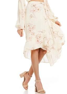 Billabong Dancing Til Dawn Ruffle Hem Midi Wrap Skirt