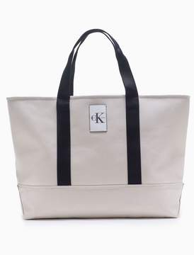 Calvin Klein monogram logo canvas large carryall tote bag