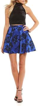 B. Darlin Velvet Top with Flocked Skirt Two-Piece Dress