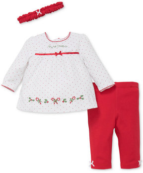 Little Me 3-Pc. Cotton Headband, Holiday Tunic & Leggings Set, Baby Girls (0-24 months)