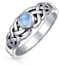 Celtic Bling Jewelry .925 Sterling Silver Moonstone Knot Ring.
