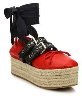 Miu Miu Leather Lace-Up Platform Espadrille Ballet Flats