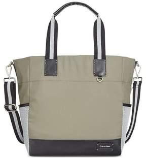 Calvin Klein Womens Ripstop Cire Convertible Printed Tote Handbag