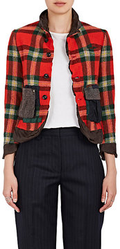 Kolor Women's Tech-Fabric-Trimmed Checked Wool Jacket
