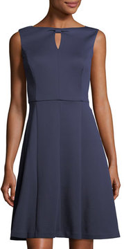 Ellen Tracy Knot-Keyhole Knit Dress
