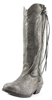 Rampage Telula Women Round Toe Canvas Silver Western Boot.
