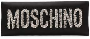 Moschino crystal embellished logo clutch