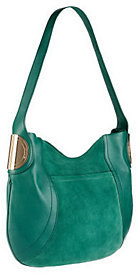 B. Makowsky B.Makowsky Giamma Leather & Suede Hobo Bag with Hinge Hardware