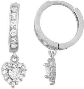 Junior Jewels Kids' Sterling Silver Cubic Zirconia Heart Drop Earrings