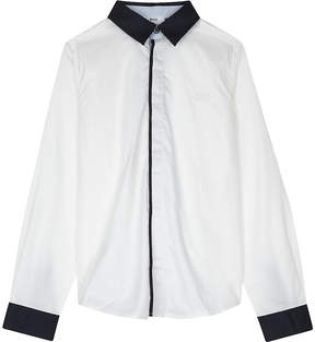 BOSS Logo contrast trim cotton shirt 4-16 years