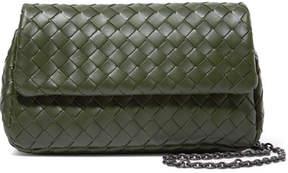 Bottega Veneta Messenger Mini Intrecciato Leather Shoulder Bag - Green