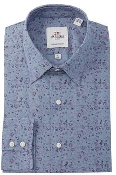 Ben Sherman Floral Chambray Tailored Skinny Fit Dress Shirt