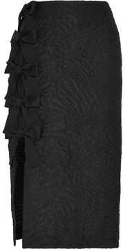 Fendi Bow-embellished Cloqué Midi Skirt - Black