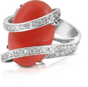 Del Gatto Red Coral Diamond Channel 18K Gold Ring