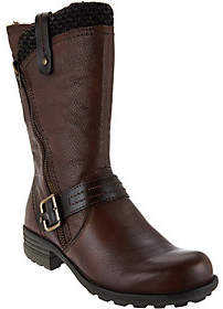 Earth Leather Mid-Shaft Boots with Side Zip - Presley