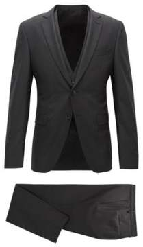 BOSS Hugo Wool 3-Piece Suit, Extra Slim Fit Reymond/Wenton WE 38R Black